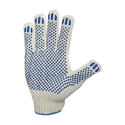 """купить Перчатки рабочие трикотажные х/б белые, 10 класс, с ПВХ покрытием """"Точка"""" (цена за упак. 10 шт)"""