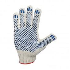 Перчатки рабочие х/б белые, 7,5 кл. 3 нити, 116 плотн,ПВХ покрытие Точка (цена за уп.10 пар)