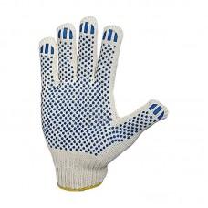 Перчатки рабочие х/б белые, 10 кл. 4 нити, 116 плотн, ПВХ покрытие Точка (цена за уп.10 пар)