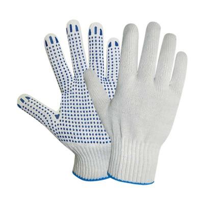 купить Перчатки хлопчатобумажные с ПВХ точечным покрытием, 10 класс, плотность 150 текс, белые