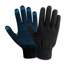 Перчатки х/б с ПВХ точечным покрытием, 10 класс, плотность 150текс, черные