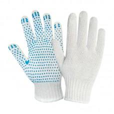 Перчатки х/б с ПВХ точечным покрытием, 7,5 класс, плотность 155текс, белые