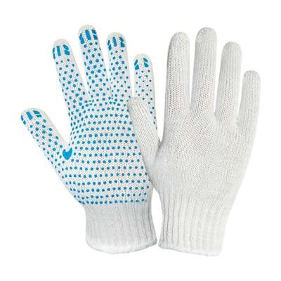 купить Перчатки х/б с ПВХ точечным покрытием, 7,5 класс, плотность 155текс, белые