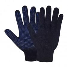 Перчатки х/б с ПВХ точечным покрытием, 7,5класс, плотность 150текс, черные