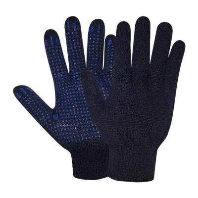 купить Перчатки х/б с ПВХ точечным покрытием, 7,5класс, плотность 150текс, черные